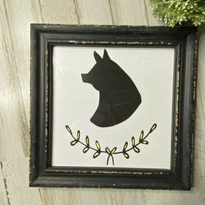 """Creative Coop Pig Picture Silhouette Farmhouse 10"""""""